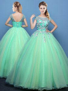 Scoop Apple Green Cap Sleeves Tulle Lace Up 15 Quinceanera Dress for Military Ball and Sweet 16 and Quinceanera