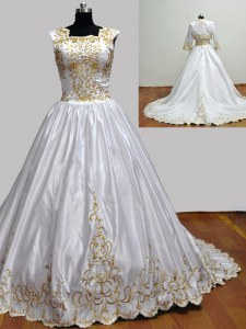 Charming Square Sleeveless With Train Embroidery Zipper 15 Quinceanera Dress with White Brush Train