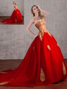 Attractive Strapless Sleeveless Tulle 15 Quinceanera Dress Appliques Court Train Lace Up