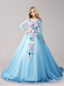 Tulle Long Sleeves Quinceanera Dress Brush Train and Hand Made Flower
