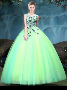 Excellent Sleeveless Tulle Floor Length Lace Up Sweet 16 Dress in Multi-color with Appliques