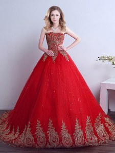 Adorable Sequins Red Sleeveless Tulle Court Train Lace Up Sweet 16 Dress for Military Ball and Sweet 16 and Quinceanera