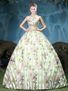 Ideal Straps Multi-color Ball Gowns Appliques and Pattern Sweet 16 Dresses Lace Up Tulle Sleeveless Floor Length