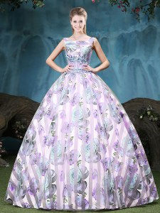 Straps Sleeveless Tulle Floor Length Lace Up Sweet 16 Dresses in Multi-color with Appliques and Pattern