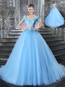 Sweet Straps Sleeveless Tulle With Brush Train Lace Up 15 Quinceanera Dress in Light Blue with Beading and Appliques
