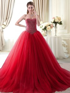 Sweetheart Sleeveless Sweet 16 Quinceanera Dress With Brush Train Beading Red Tulle
