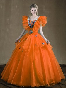 Classical Orange Red Lace Up 15th Birthday Dress Appliques and Ruffles Sleeveless Floor Length
