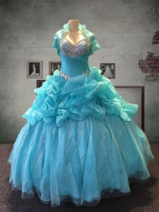Aqua Blue Vestidos de Quinceanera Military Ball and Sweet 16 and Quinceanera and For with Beading and Pick Ups Sweetheart Sleeveless Lace Up