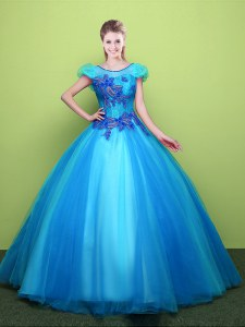 Edgy Baby Blue Quinceanera Dresses Military Ball and Sweet 16 and Quinceanera and For with Appliques Scoop Short Sleeves Lace Up