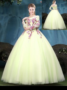 Luxurious Scoop Floor Length Yellow Green Sweet 16 Dresses Tulle Long Sleeves Appliques