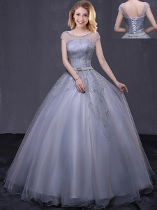 Grey Scoop Neckline Beading and Belt Quinceanera Gown Cap Sleeves Lace Up
