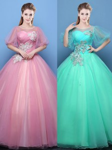 Superior Ball Gowns Quinceanera Dress Pink and Turquoise Scoop Tulle Half Sleeves Floor Length Lace Up