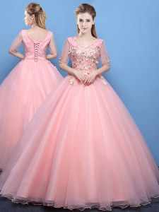 V-neck Half Sleeves Quinceanera Gown Floor Length Appliques Baby Pink Tulle