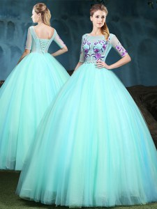 Apple Green Sweet 16 Dresses Military Ball and Sweet 16 and Quinceanera and For with Appliques Scoop Half Sleeves Lace Up