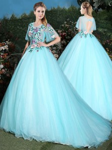Extravagant Scoop Aqua Blue Half Sleeves Tulle Brush Train Lace Up Quinceanera Gown for Military Ball and Sweet 16 and Quinceanera