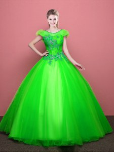 Smart Scoop Lace Up Appliques Quinceanera Gowns Short Sleeves