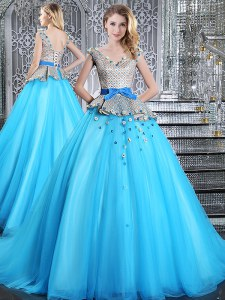 Artistic Sleeveless Brush Train Appliques and Belt Lace Up 15th Birthday Dress