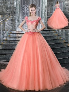 Straps Peach Sleeveless Brush Train Beading With Train Quinceanera Gowns