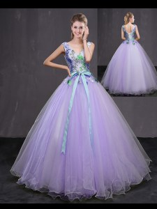 Shining Lavender Ball Gowns Beading and Belt 15 Quinceanera Dress Lace Up Tulle Sleeveless Floor Length