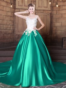 Scoop Turquoise Ball Gowns Lace and Appliques Quinceanera Gown Lace Up Elastic Woven Satin Sleeveless With Train
