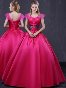 Chic Satin V-neck Cap Sleeves Lace Up Appliques Quince Ball Gowns in Hot Pink
