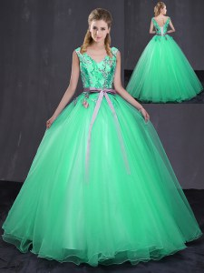 Top Selling Tulle Sleeveless Floor Length Vestidos de Quinceanera and Appliques and Belt