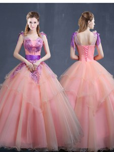 Organza Sleeveless Floor Length Ball Gown Prom Dress and Appliques