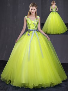 Yellow Green Ball Gowns Tulle V-neck Sleeveless Appliques and Belt Floor Length Lace Up Quinceanera Dress