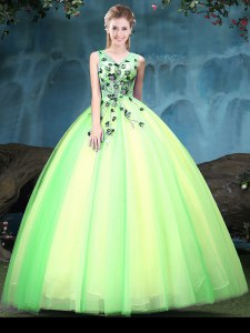 Elegant Multi-color Lace Up V-neck Appliques Quinceanera Gowns Tulle Sleeveless