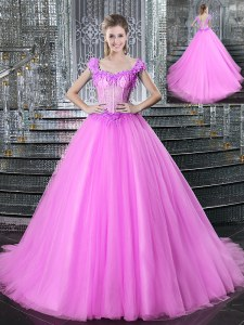 Straps Tulle Sleeveless With Train Vestidos de Quinceanera Brush Train and Beading and Appliques
