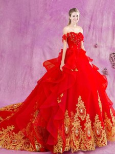 Latest Red Sweet 16 Dress Military Ball and Sweet 16 and Quinceanera and For with Beading and Appliques and Ruffles Off The Shoulder Sleeveless Court Train Lace Up