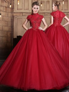 Appliques Quinceanera Dresses Wine Red Zipper Short Sleeves Floor Length