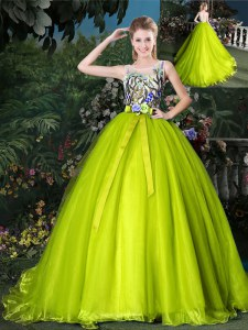 Charming Scoop Sleeveless Court Train Lace Up Quinceanera Gown Yellow Green Organza
