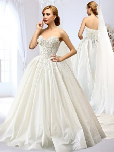 Sleeveless Taffeta Floor Length Lace Up Bridal Gown in White with Beading and Appliques