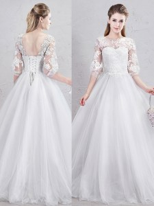 Chic Scoop White Half Sleeves Tulle Lace Up Bridal Gown for Wedding Party