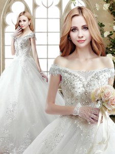 Fine Off the Shoulder Tulle Sleeveless With Train Wedding Dresses Court Train and Beading and Lace