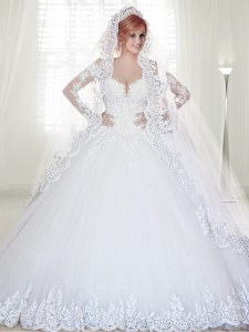 White Zipper Off The Shoulder Beading and Lace and Appliques Wedding Gowns Tulle Long Sleeves Chapel Train