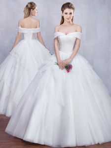 White Ball Gowns Tulle Off The Shoulder Sleeveless Beading and Ruffles Floor Length Lace Up Wedding Dress