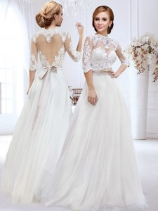 Sweetheart Shape Back High-neck Half Sleeves Wedding Dresses Floor Length Lace and Belt White Tulle