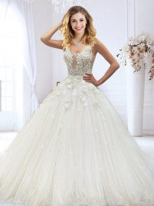 Extravagant White Scoop Neckline Beading and Lace and Appliques Wedding Gowns Sleeveless Zipper