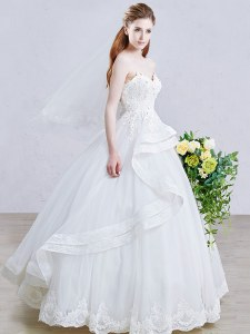 White Lace Up Bridal Gown Appliques Sleeveless Floor Length