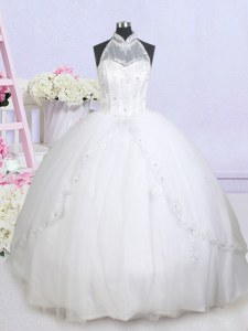 Stunning White Ball Gowns Tulle Halter Top Sleeveless Beading and Appliques With Train Lace Up Wedding Gowns Brush Train