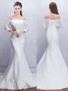 Adorable Mermaid Off the Shoulder White 3 4 Length Sleeve Brush Train Lace With Train Bridal Gown