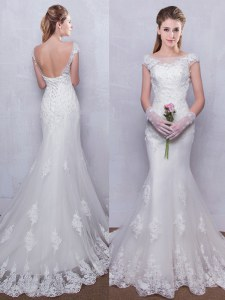 Chic Mermaid White Wedding Dresses Wedding Party and For with Lace Scoop Cap Sleeves Brush Train Backless