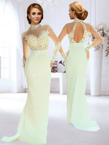 White Long Sleeves Beading and Lace and Appliques Backless Wedding Dress