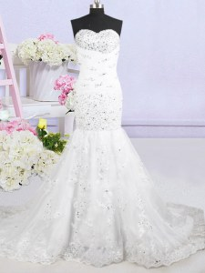 Affordable Mermaid Sleeveless Tulle With Brush Train Lace Up Wedding Dresses in White with Beading and Lace and Appliques