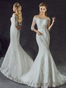 Modest Mermaid Off The Shoulder Half Sleeves Tulle Wedding Dresses Lace and Appliques Brush Train Lace Up