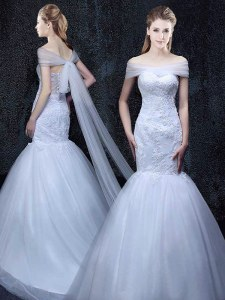 Perfect Mermaid Off The Shoulder Short Sleeves Tulle Wedding Dress Lace and Appliques Brush Train Lace Up