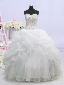 Edgy Sweetheart Sleeveless Bridal Gown Brush Train Beading and Pick Ups White Organza