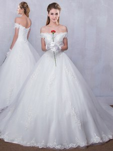 Chic Scalloped Sleeveless Court Train Lace Up With Train Lace Bridal Gown